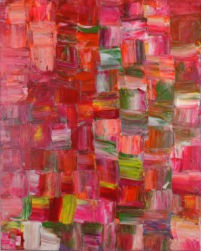 An abstract painting  by Gloria Swain. The painting consists of square brush strokes in tones of red