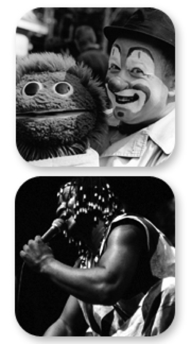 Two black and white portrait photographs, one of puppeteer Christopher Welsh and one of performer Sidiki Conde