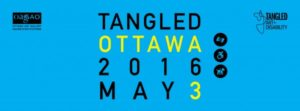 Tangled Ottawa Logo banner. All text is on a bright blue background