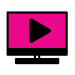 black and pink icon of a TV with a play icon on the screen