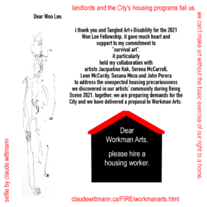 A graphic developed by claude wittmann thanking Won Lee and his collaborators on this survival art project. The image includes an autoportrait of claude. The full text of the image is in the post's body text.